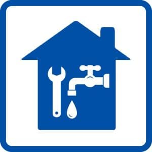 27544058 - plumbing sign with house, tap and spanner in frame